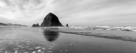 Black and white image of Haystack Rock