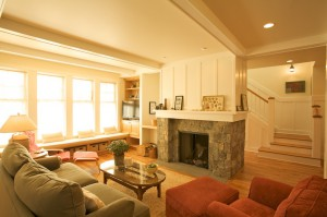 Stone fireplace in your oceanfront home